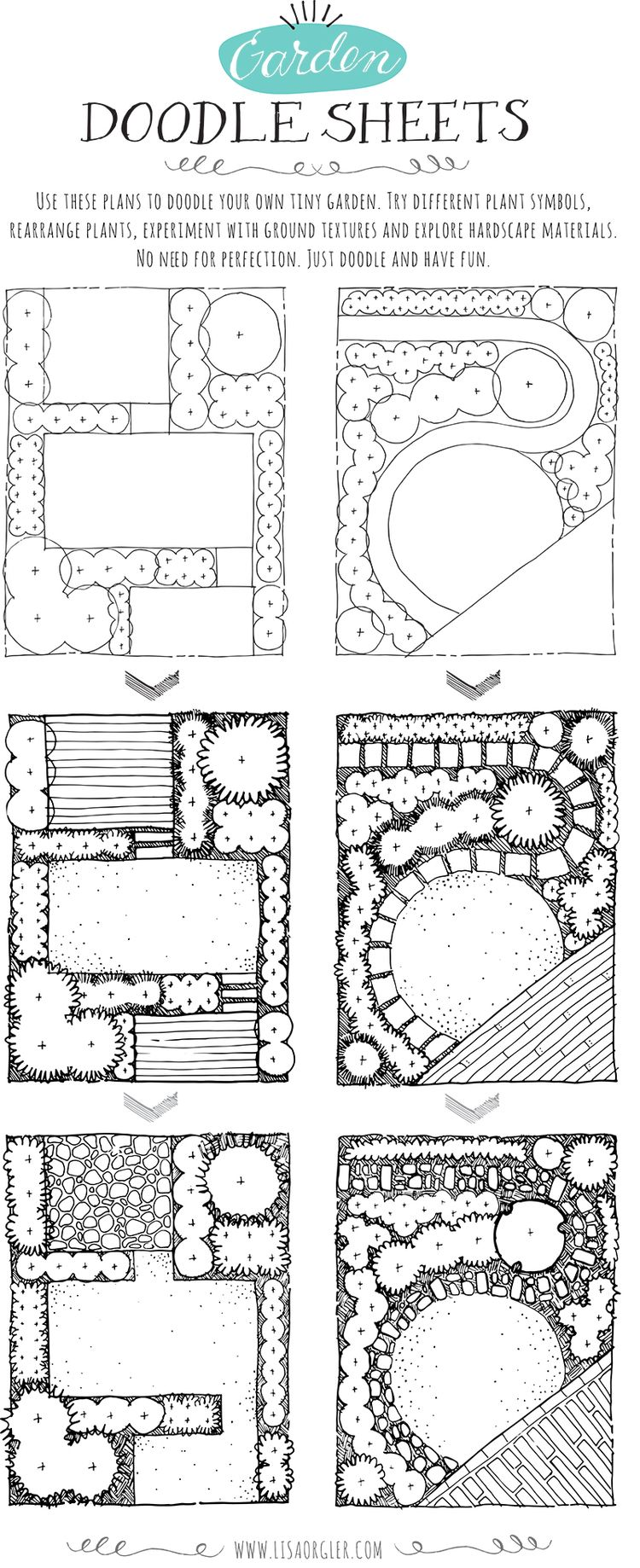 Garden Design Your Own free garden doodle sheets. click on image in post to download a
