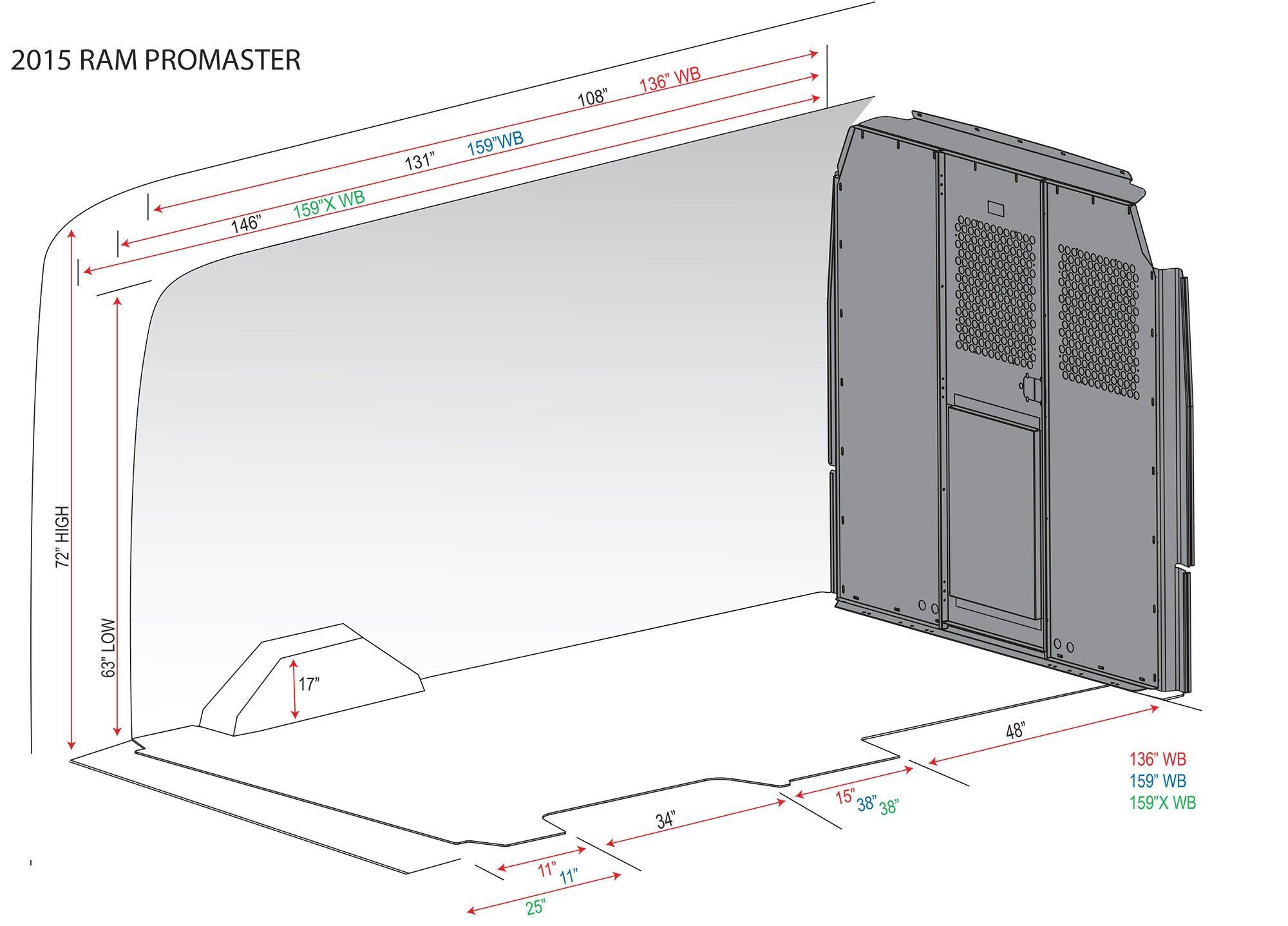 Dodge promaster measurements Ram promaster, Van