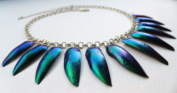 Jewel Beetle Necklace purply blue marbled beetle wing by Skullbag