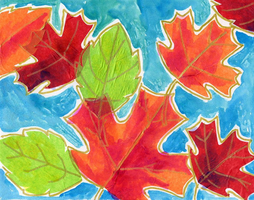 Fall Leaf Art with Crayons and Watercolor - Art Projects for Kids