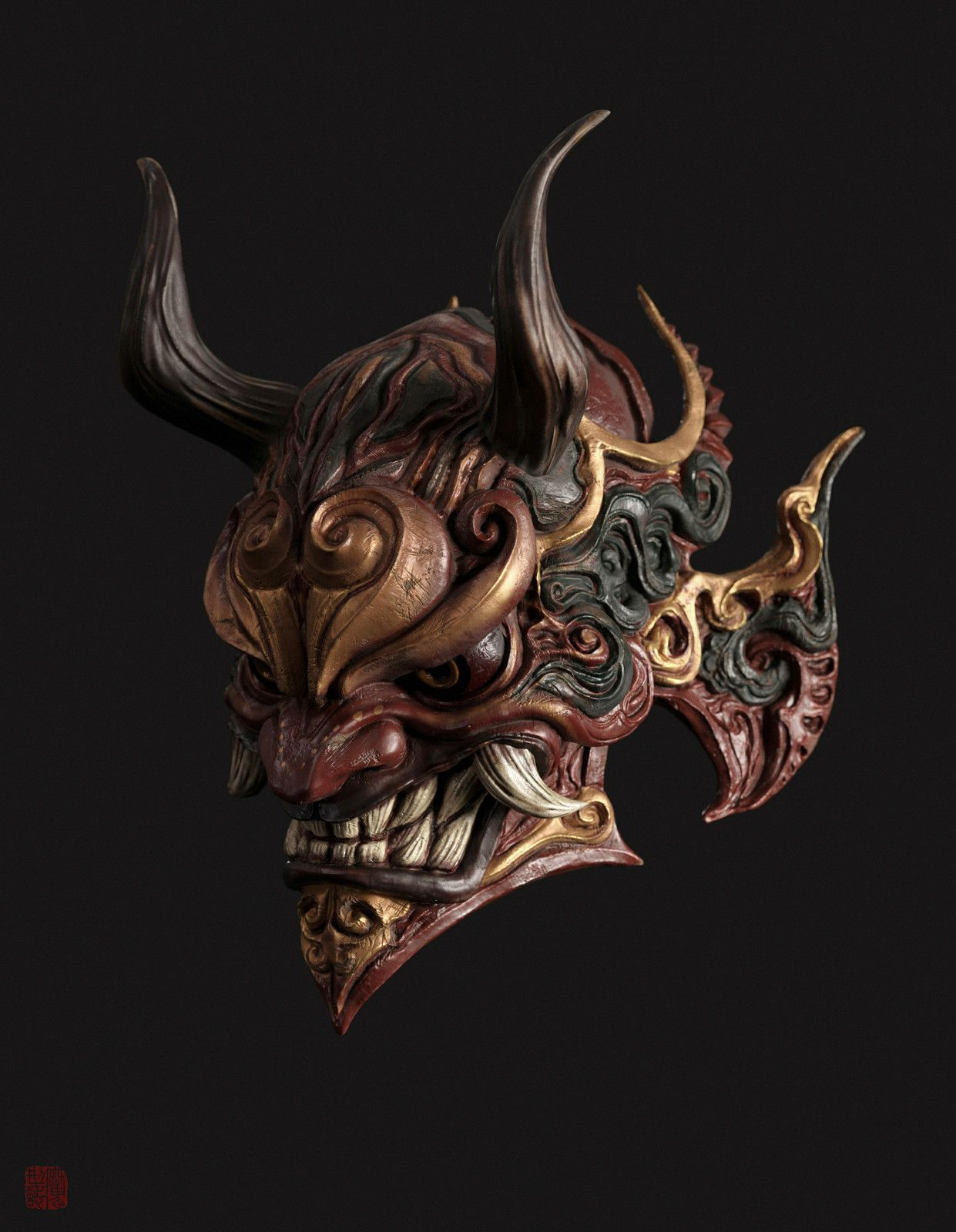 Mask Shao Zhijiao On Artstation At Https Www Artstation Com Artwork Ennpa Oni Mask Japanese Demon Mask Oni Mask Tattoo