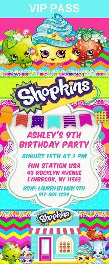Shopkins Birthday Party Ticket Invitations Erins shopkin party