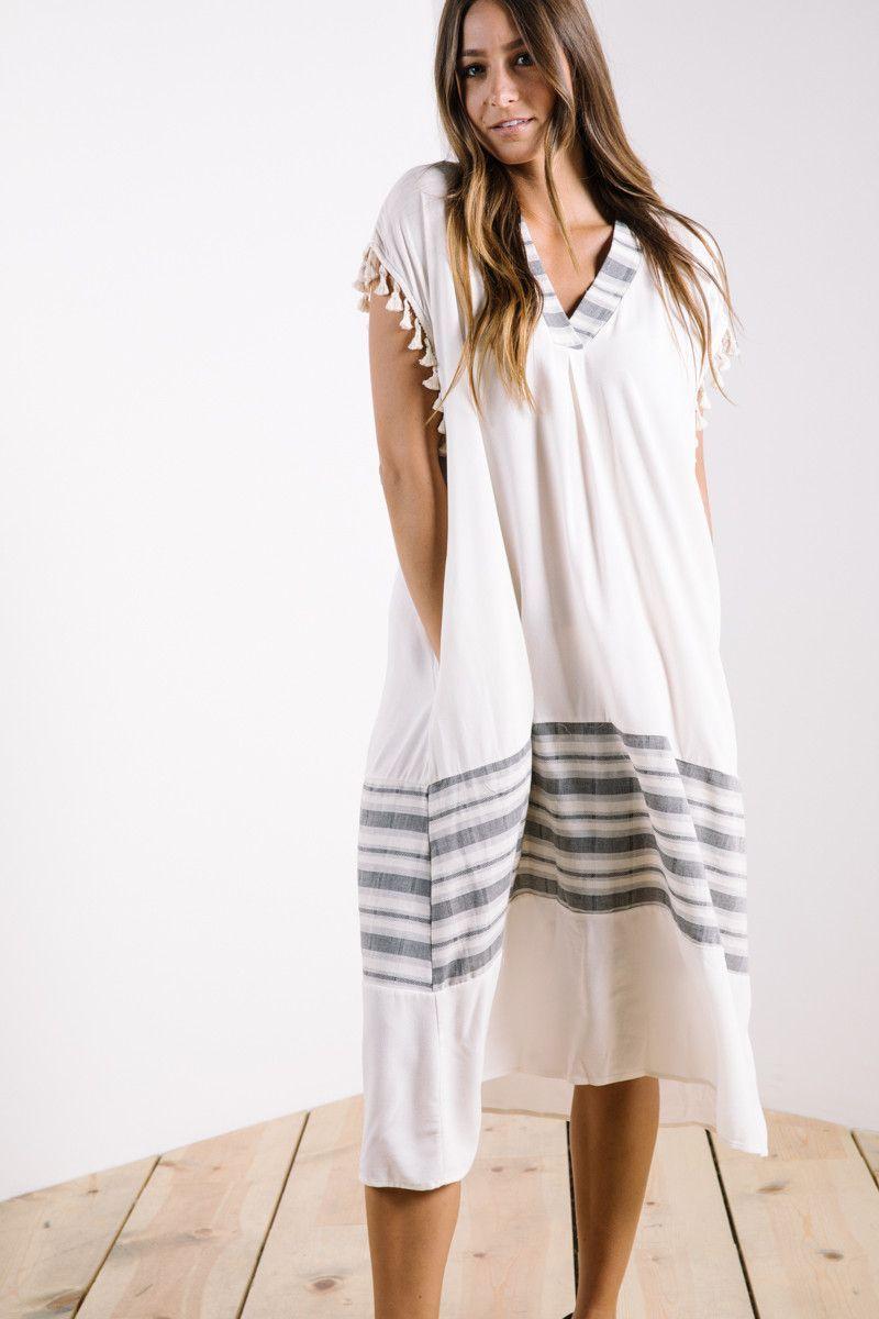 The benita tassel sleeve dress in cream sleeved dress tassels and
