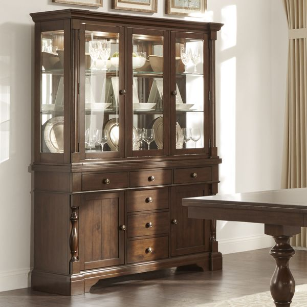TRIBECCA HOME Flatiron Display Mirrored Back Buffet Storage China Cabinet