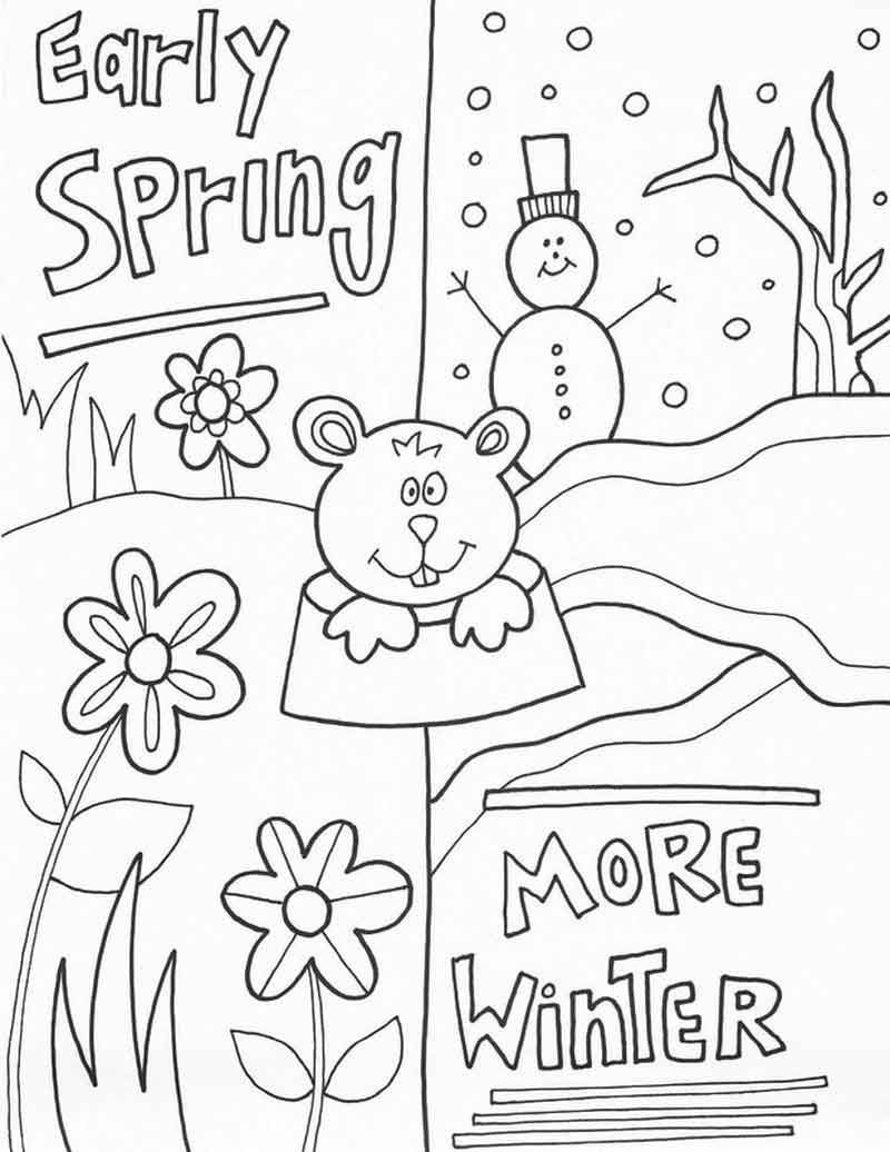 Spring Winter Groundhog Day Worksheet Groundhog Day Activities Groundhog Day Printable Coloring Pages [ 1036 x 800 Pixel ]