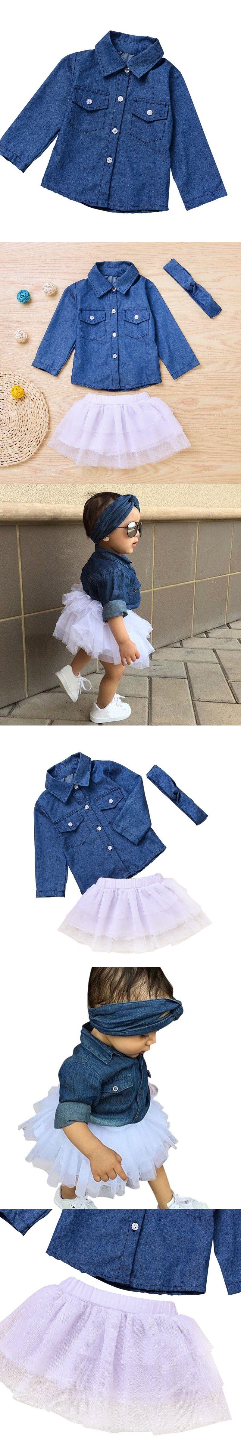 831cbffbaae 3PCS Toddler Kids Baby Girl Clothes Set Denim Tops T-shirt +Tutu Skirt  Headband