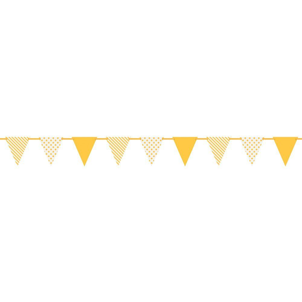Amazon Com Polka Dots And Stripes Pennant Banner 12 Feet Yellow