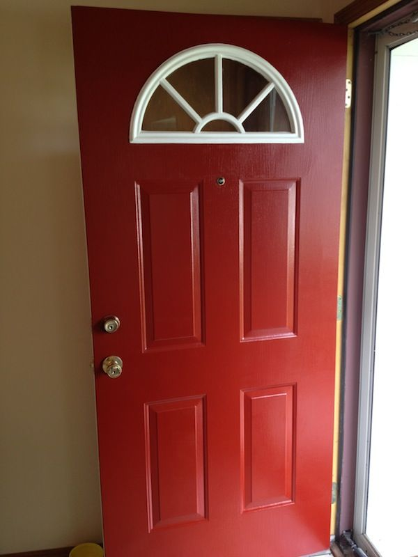 Handy In Ks Painting The Front Door Red Painted Front Doors Exterior House Paint Color Combinations House Paint Color Combination