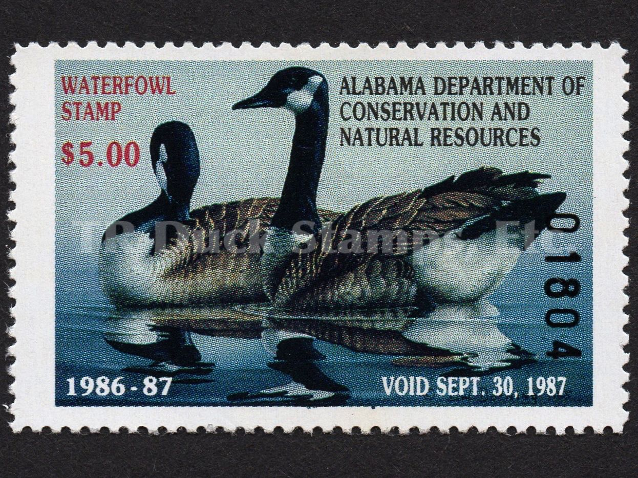 1986 Canada Geese  Artist: Danny W. Dorning Alabama Dept of Conservation and Natural Resources Stamp