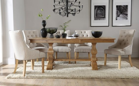 Cavendish Oak Extending Dining Table  With 6 Duke Oatmeal Chairs Fascinating Dining Room Suit 2018