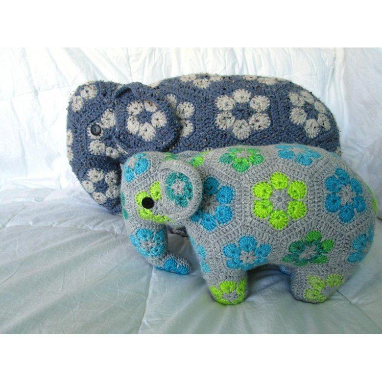 Loxodonta & Elephas the african flower elephants Crochet pattern by Annisea