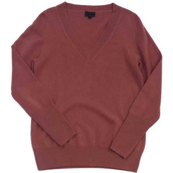 Pre-owned J.Crew Rose Cashmere Sweater (€74) ❤ liked on Polyvore featuring tops, sweaters, red cashmere sweater, cashmere sweater, cashmere tops, j crew tops and red top