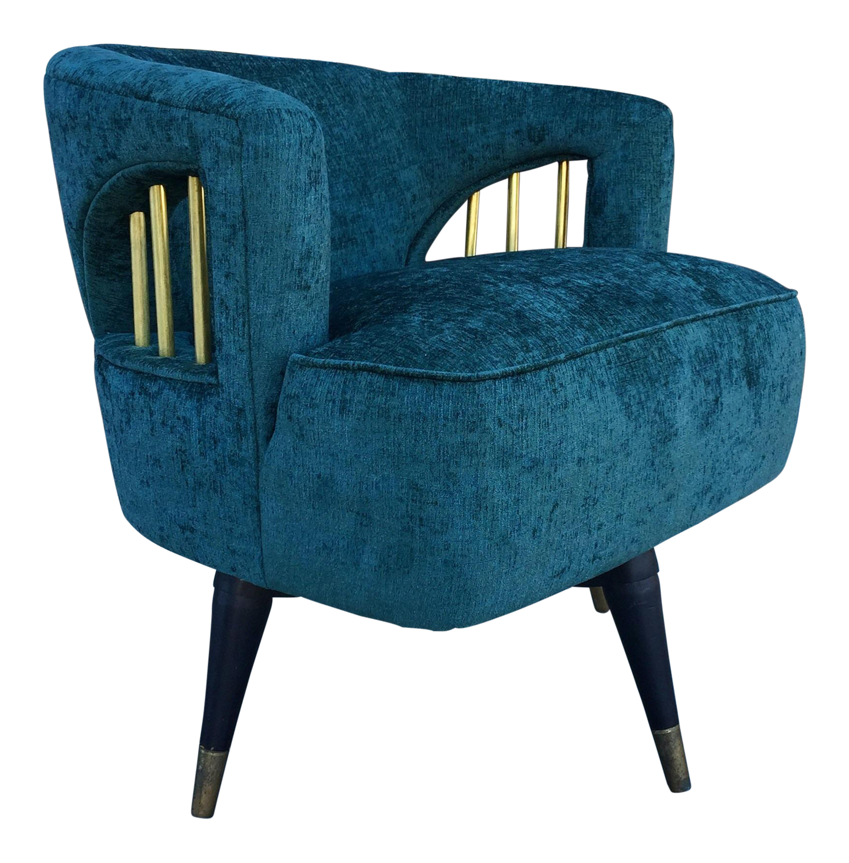 green velvet swivel chair hanging for two mid century brass on chairish com greenvelvetchairs
