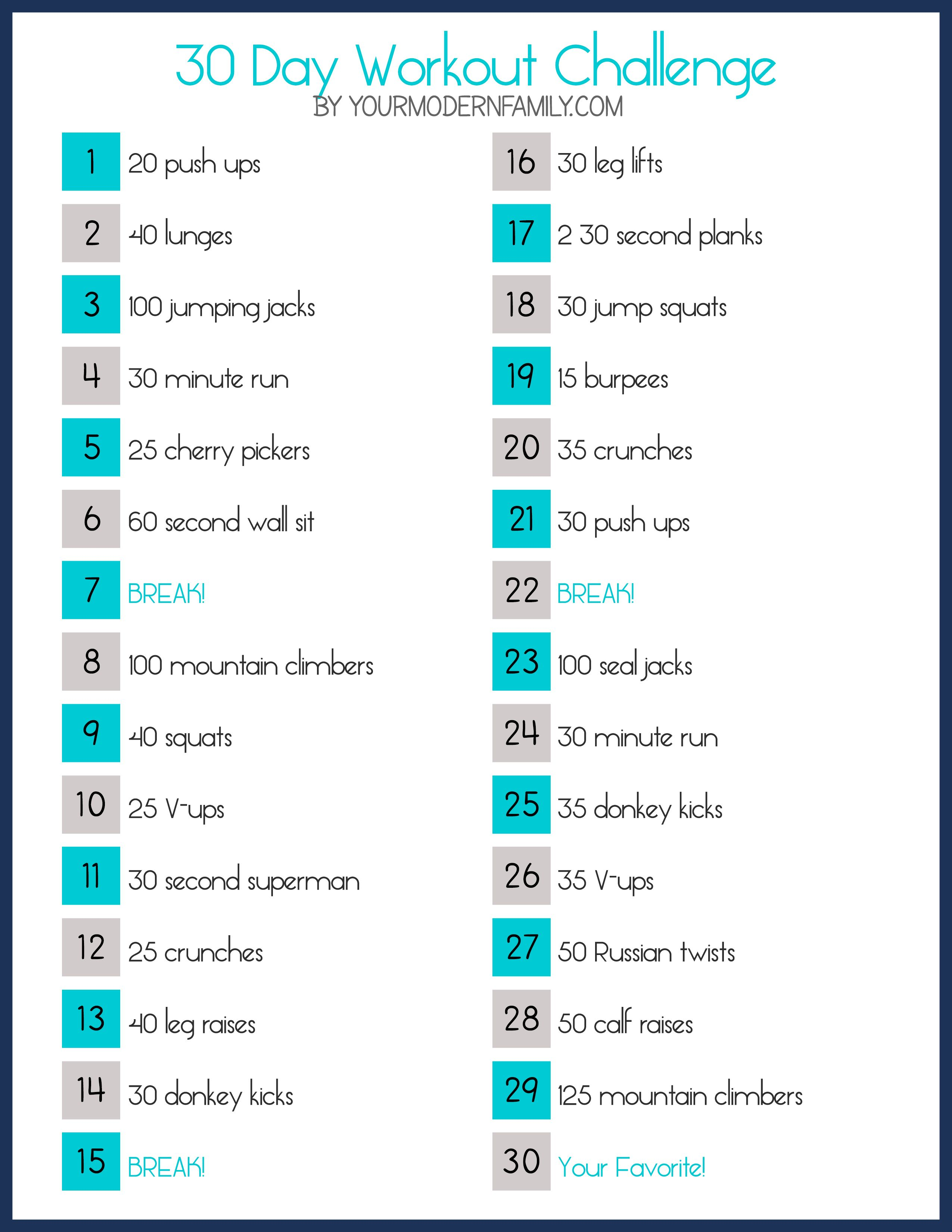 30 day slim down fitness challenge (free printable)