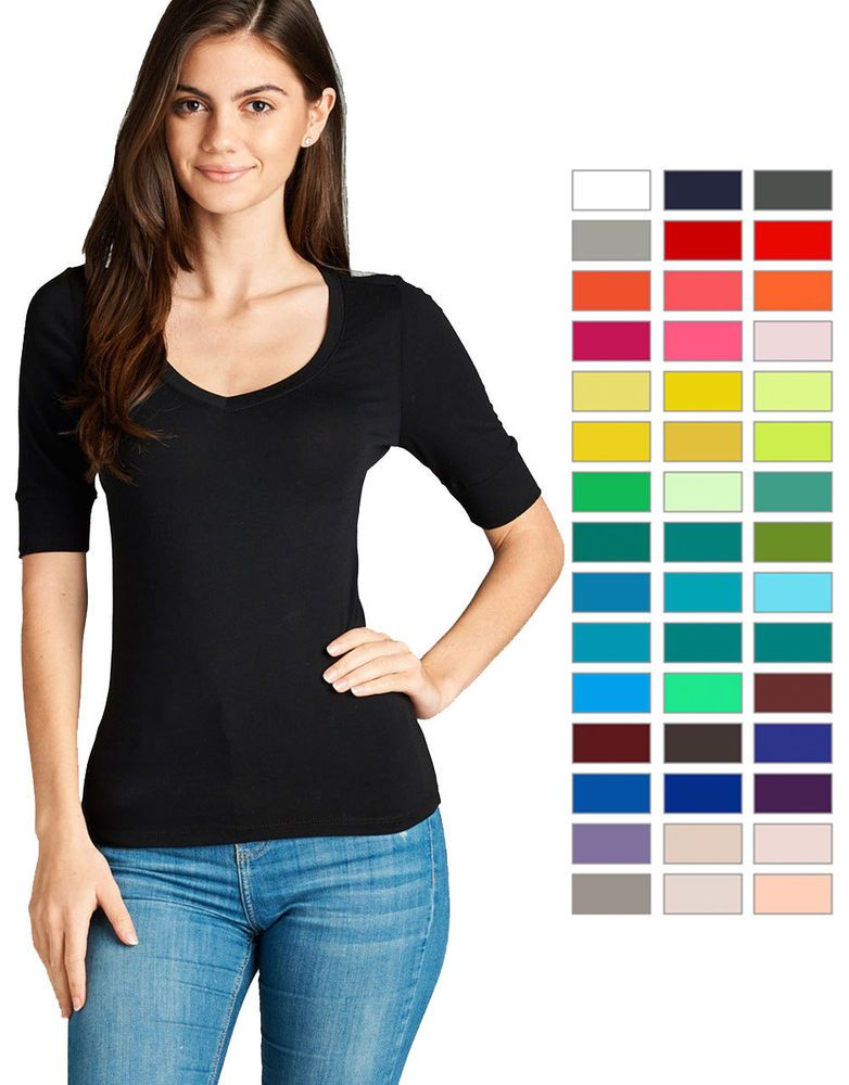 118d061af2 Women s Basic V-Neck Elbow Sleeve T-Shirt Short Sleeve Stretchy Top Reg    9.59 End Date  Sunday Sep-23-2018 19 38 57 PDT Buy It Now for…