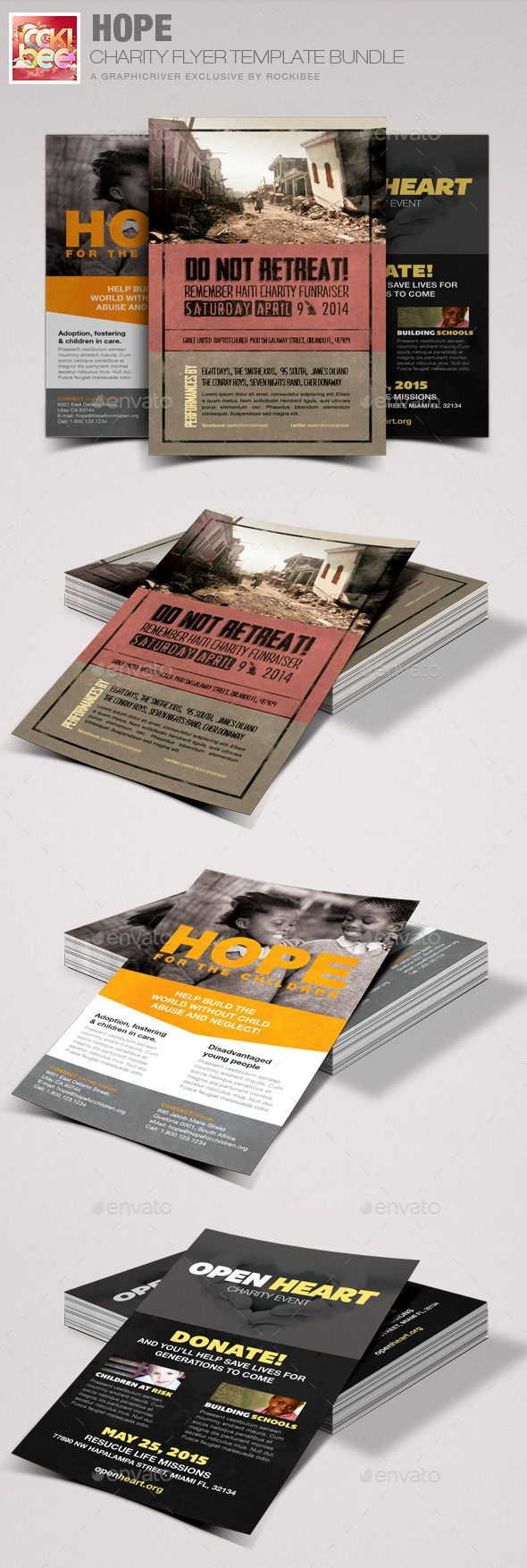 Hope Charity Flyer Template Bundle | Pinterest