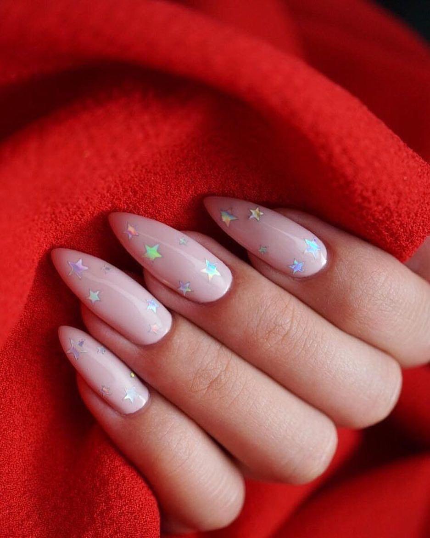 Sariitaboniita Flare Nails Pink Glitter Nails Neutral Nails