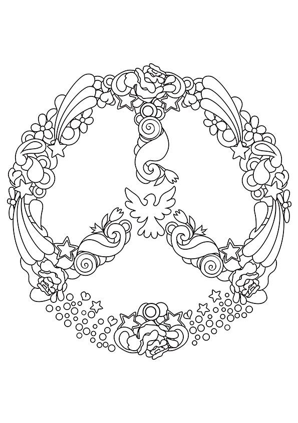 Simple and Attractive Free Printable Peace Sign Coloring Pages | pic ...