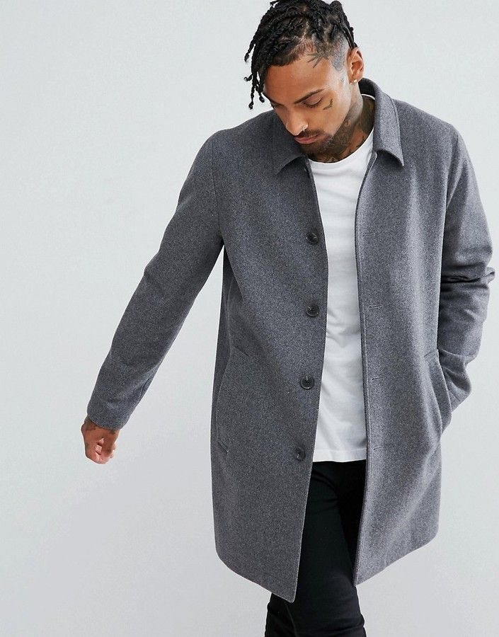 footwear best quality best prices Asos Wool Mix Trench Coat In Light Gray | Trench coat men ...