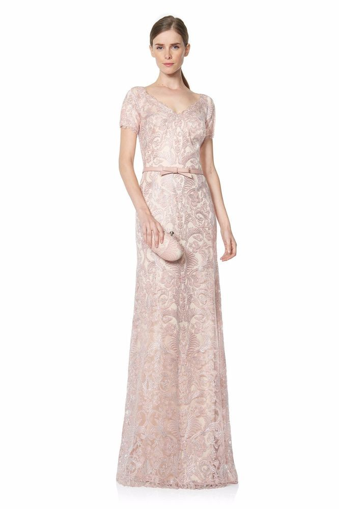 292521a7fd8 Tadashi Shoji Petal Silver Short Sleeved Lace Topped Gown Size 8  548   TadashiShoji  BallGown  Formal