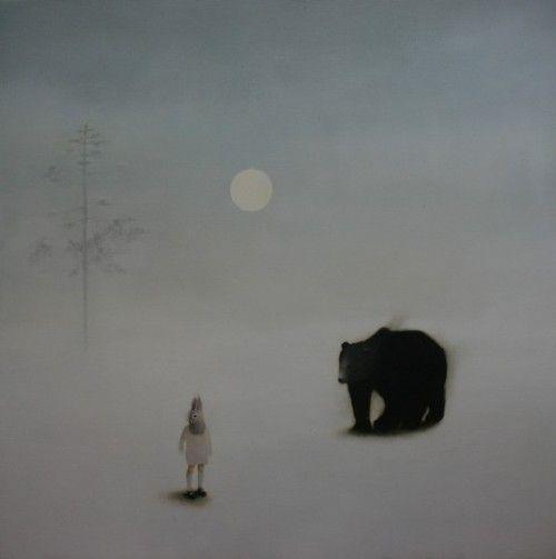 Sarah Ball. The bear and the boy, 2012. Oil on canvas, 80 x 80cm.