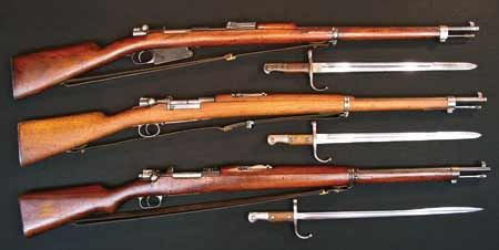 Turkish Mauser Infantry Rifles with sling and bayonet (from top to
