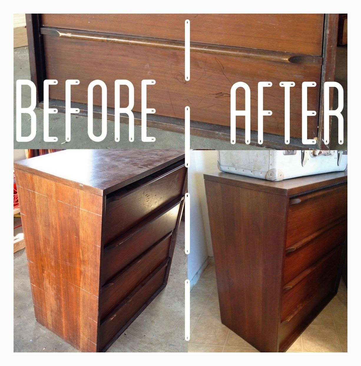 Midcentury Dresser Re Do Without Sanding Or Staining Wood