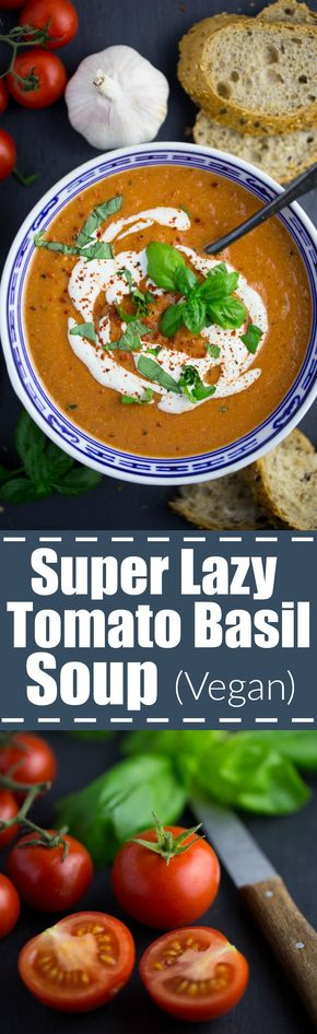 This vegan tomato basil soup with cashews is super easy to make, incredibly creamy, and so comforting! It's the perfect meal for lazy or busy days!