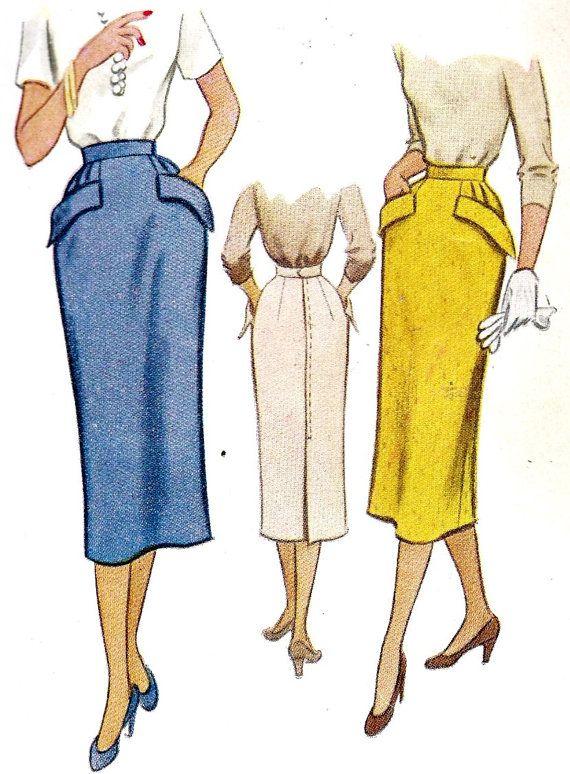 1950s Pencil Skirt | figurin | Pinterest | Patrones de costura ...