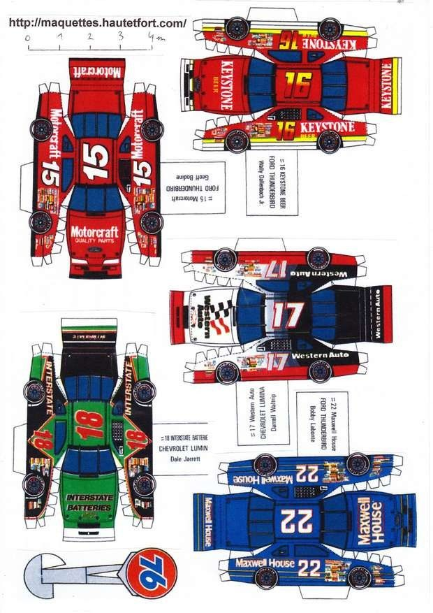 race cars paper models v hicules divers maquettes en papier paper models nascar. Black Bedroom Furniture Sets. Home Design Ideas