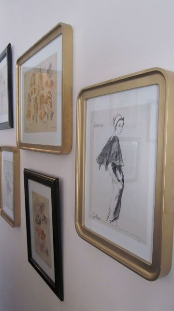 Ikea Odby frames spray painted gold || Rosa Beltran Design {Blog}: PICTURE FRAME SOURCE AND INSPIRATION