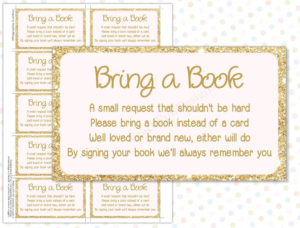 Marvelous In Lieu Of A Card Bring A Book Baby Shower Part - 8: Bring A Book Instead Of Card Golden Color. Baby Shower ...