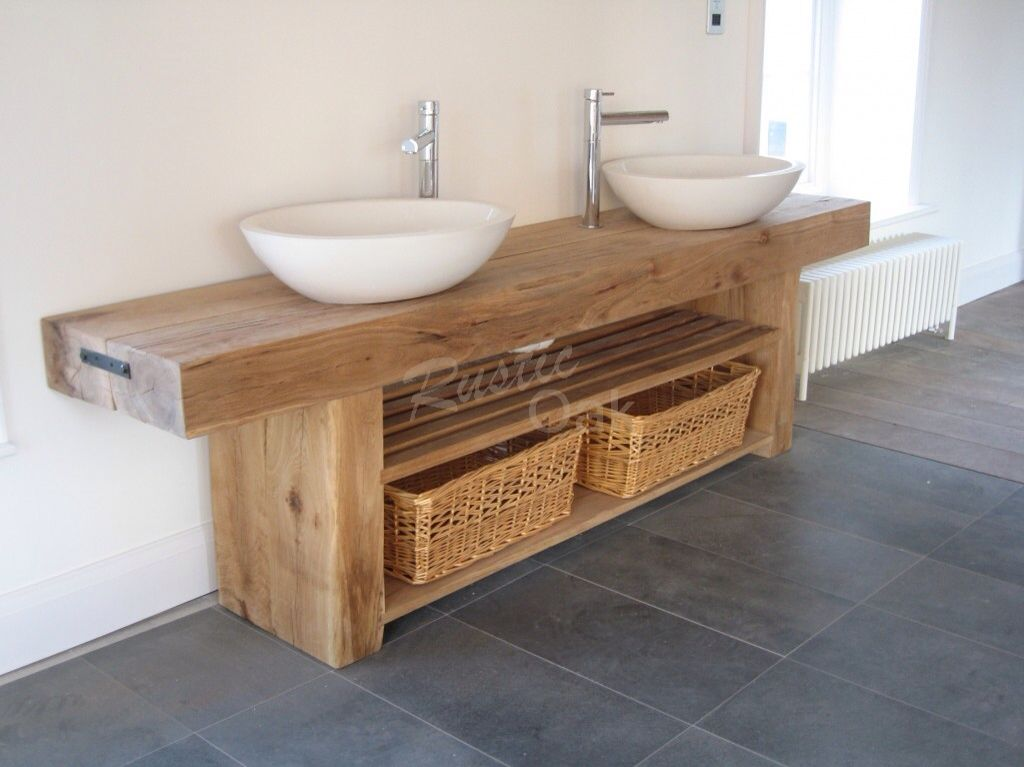 Love This Chunky Wood Counter Wooden Bathroom Vanity Bathroom Sink Units Oak Bathroom Vanity