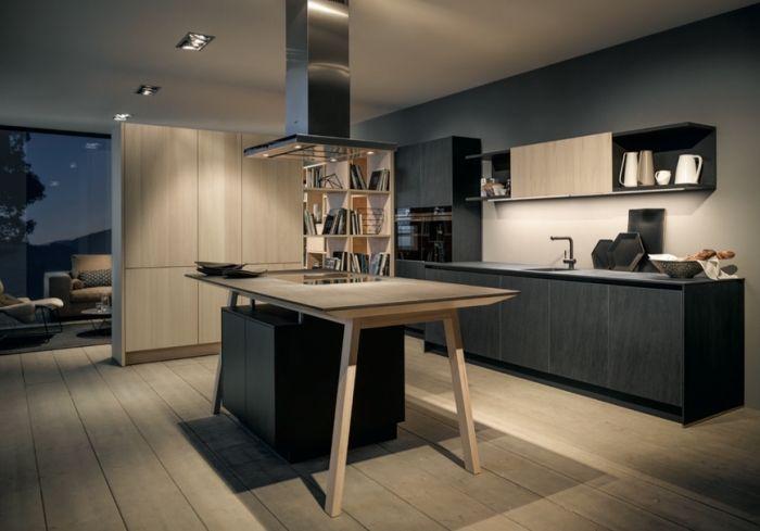 1001 exemples sublimes de la cuisine noire et bois cuisine - Cuisine bois gris clair ...