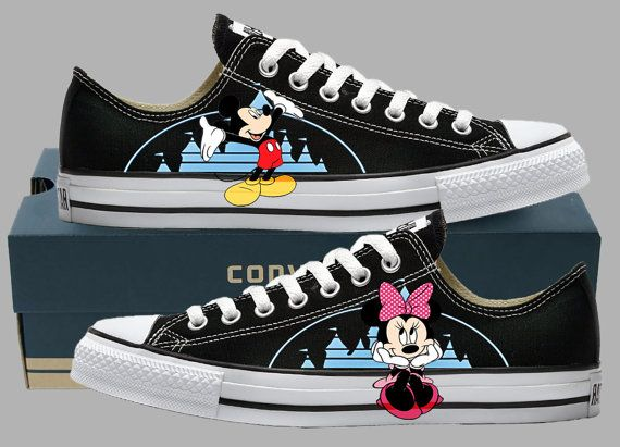 Hand Painted Converse Lo Sneakers. Mickey by