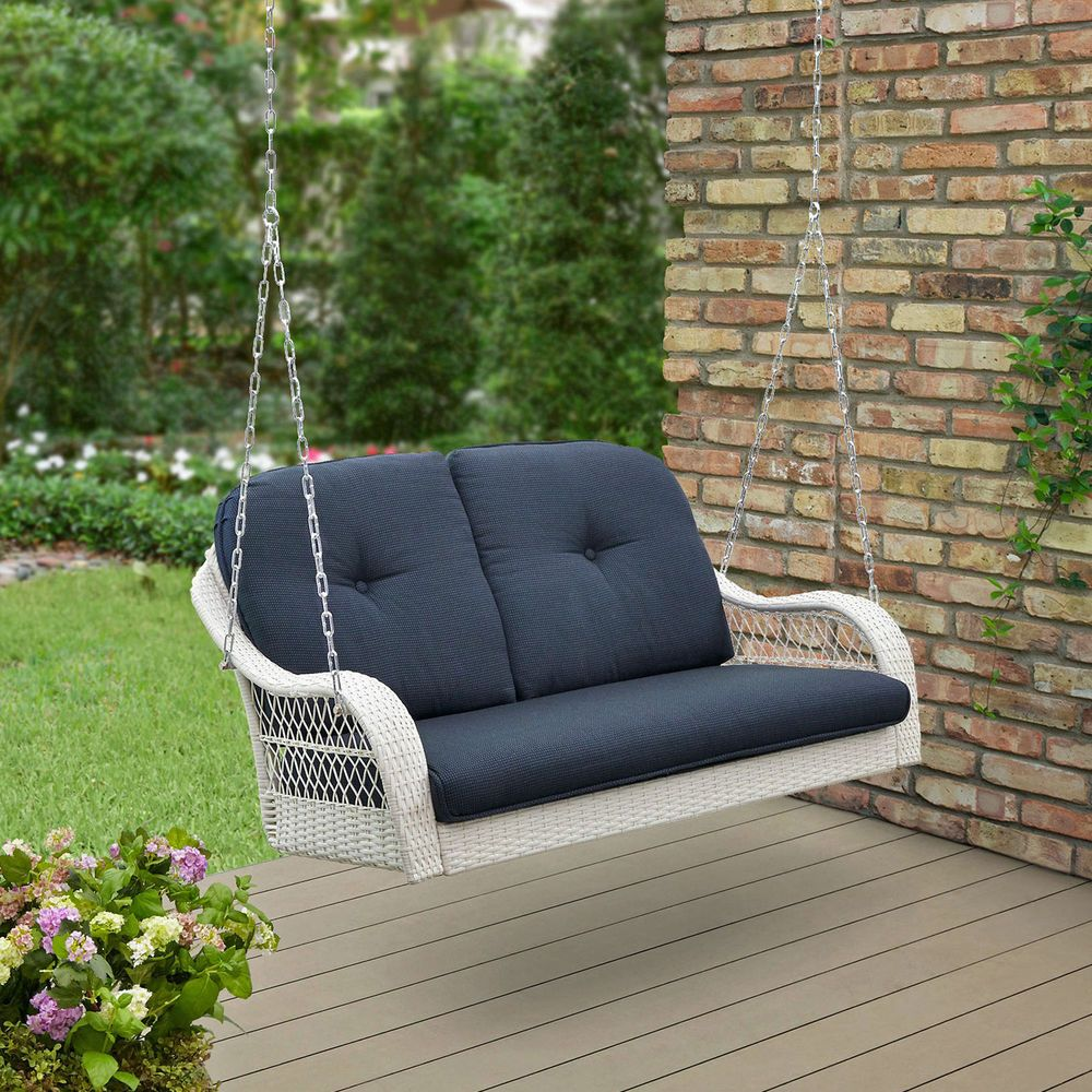 Wicker Porch Swing White Hanging Seat 2 Person Patio