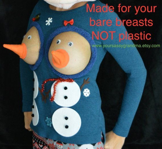 Snowman Boobs Sexy Ugly Christmas Sweater They Are Not Plastic