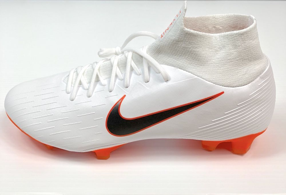 size 40 29624 5354b Nike Mercurial Superfly 6 Pro FG White-Orange Soccer Cleat ...