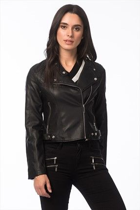 Koton Kadin Siyah Ceket Kadin Siyah Ceket Koton Kadin Http Www 1001stil Com Urun 58692 Leather Jackets Women Leather Jacket Fashion