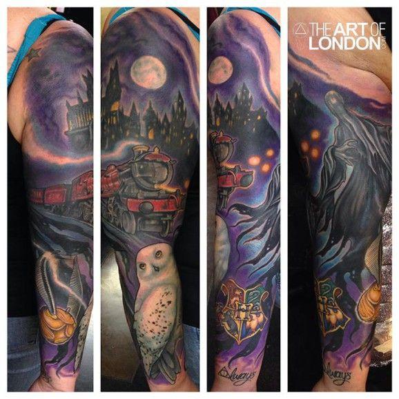 Rad sleeve by london reese tattoo pinterest tattoo for Harry potter sleeve tattoo