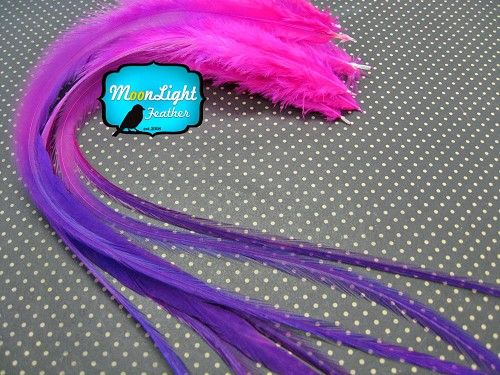 4 pcs - XL SOLID RASPBERRY Thick FEATHER Blendz