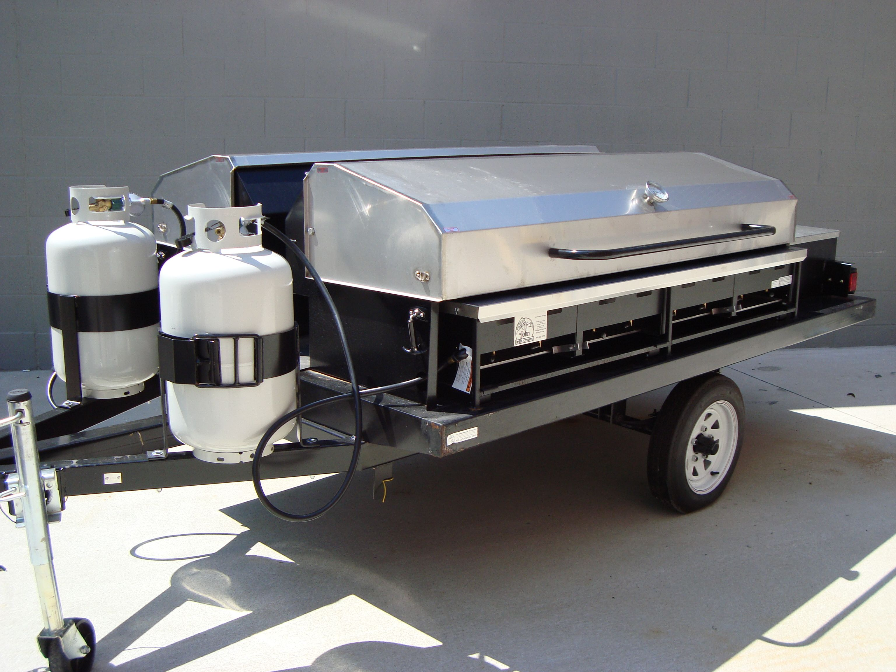 Our Double Sided Propane Trailer Grill Has Enough Power To Serve Large Events For Up To Several Hundred Guests Trailer Grill Bbq Pit Smoker Mobile Coffee Shop