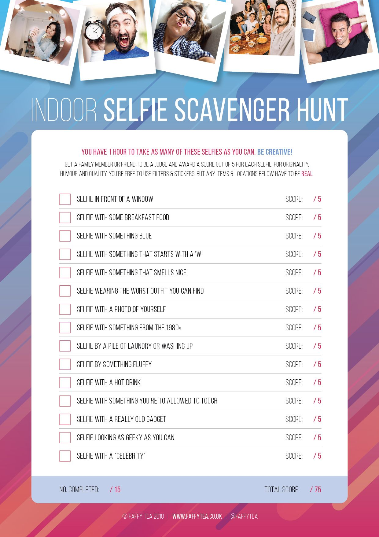 Selfie Scavenger Hunt Kids party games, Birthday party