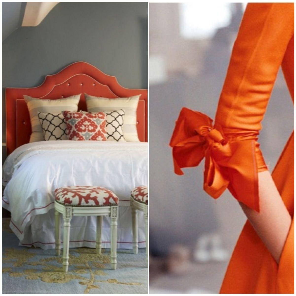 orange dress / headboard