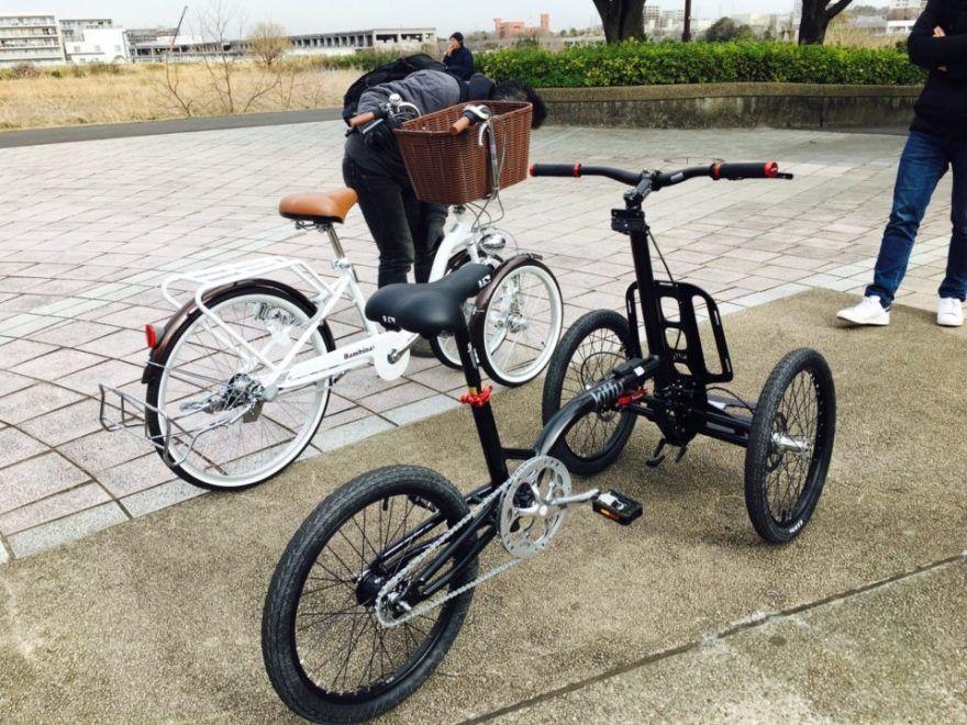 三輪自転車の参考として2台を試乗してみました 1台はフランス代表おしゃれなkiffy もう1台は日本代表ママチャリ バンビーナ Kiffyは見た目もかっこいいガッシリ系 色のせい バンビーナは ほぼママチャリ カ 自転車 フランス代表 三輪