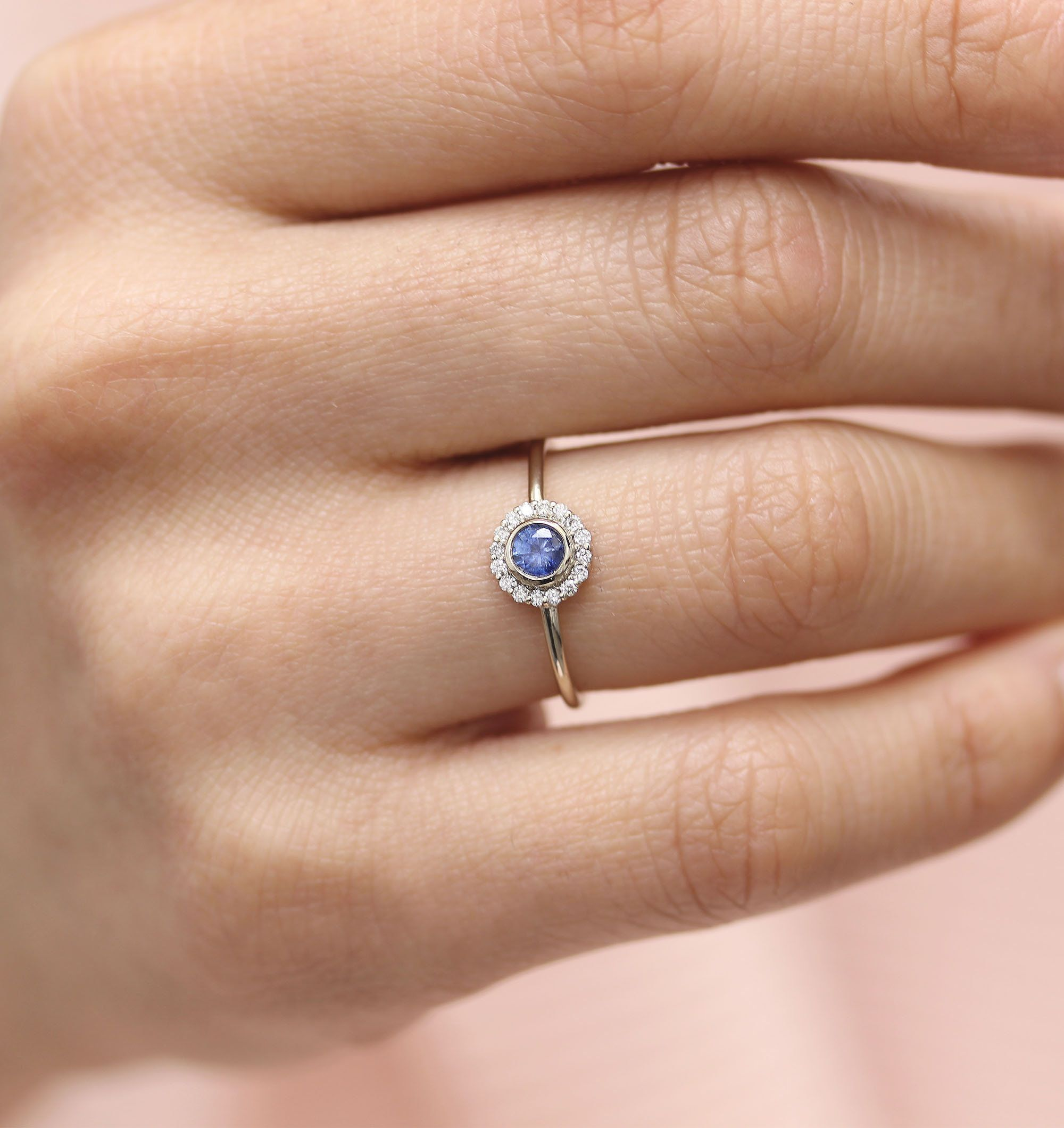 Blue Sapphire Diamond Engagement Ring 14k White Gold