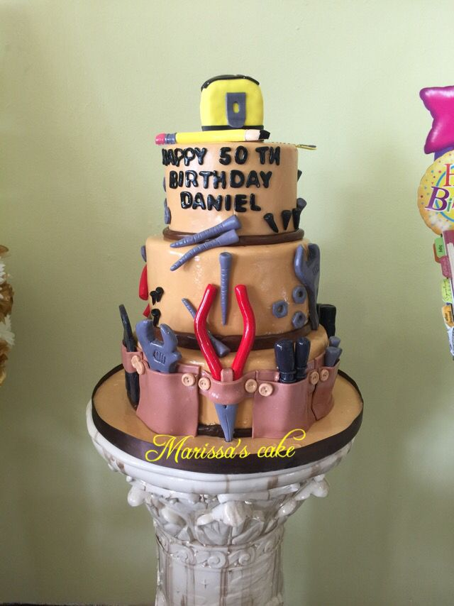 Handyman birthday cake. Visit us Facebook.com/marissascake or www.marissascake.com