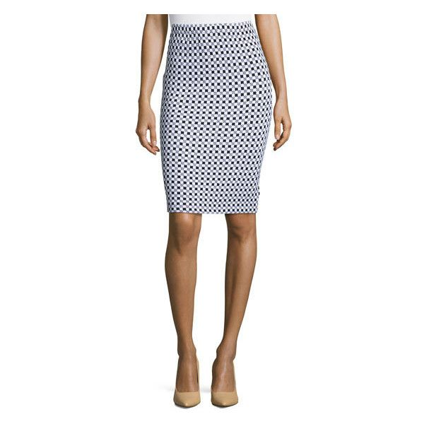 St. John Checkered-Knit Pencil Skirt, Black/White ($375) ❤ liked ...