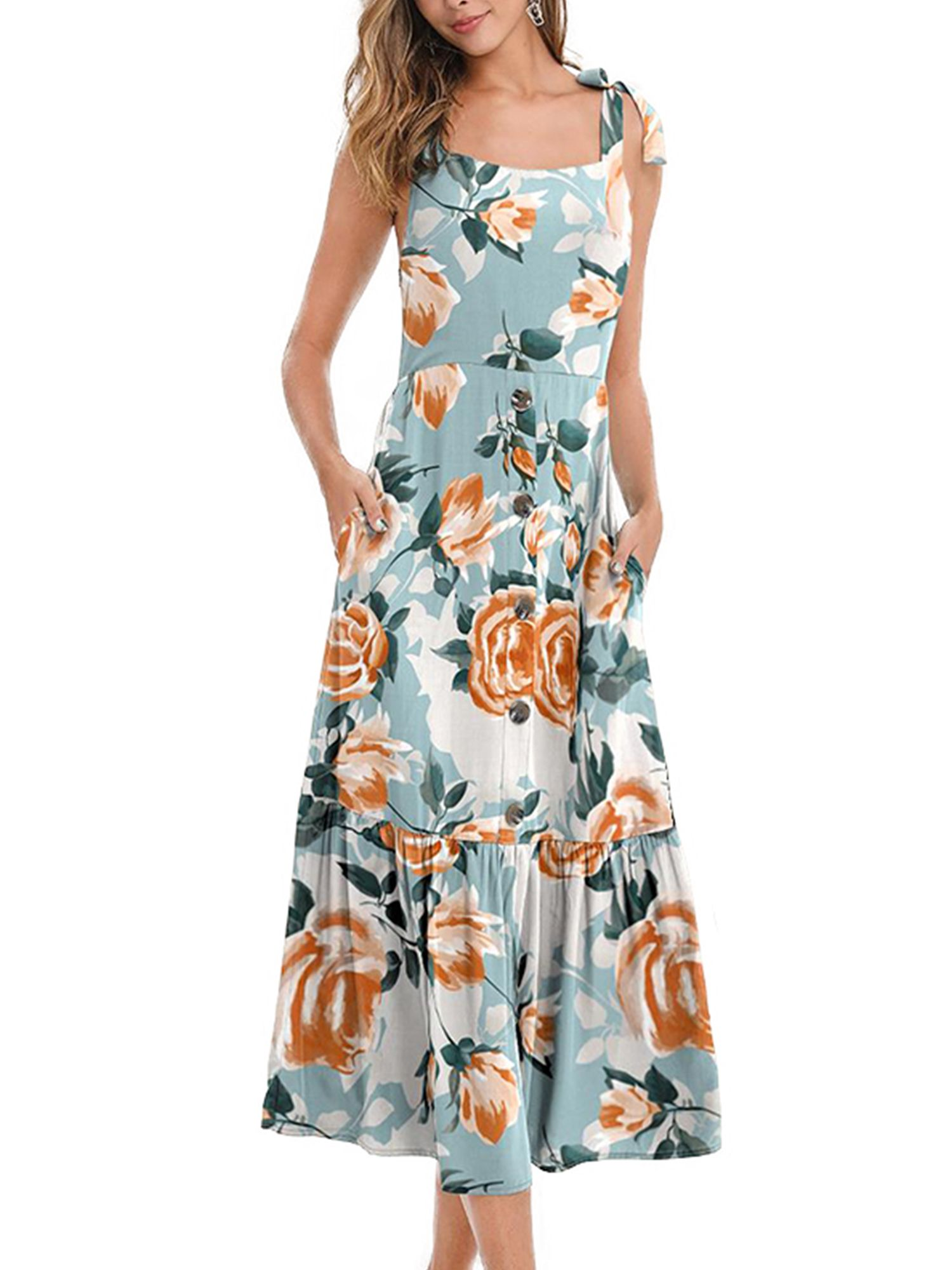 Lallc Women S Floral Sleeveless Long Dresses Party Cocktail Elegant Summer Sundress Walmart Com Sleeveless Long Dress Party Dress Long Summer Dresses Sundresses [ 2000 x 1500 Pixel ]