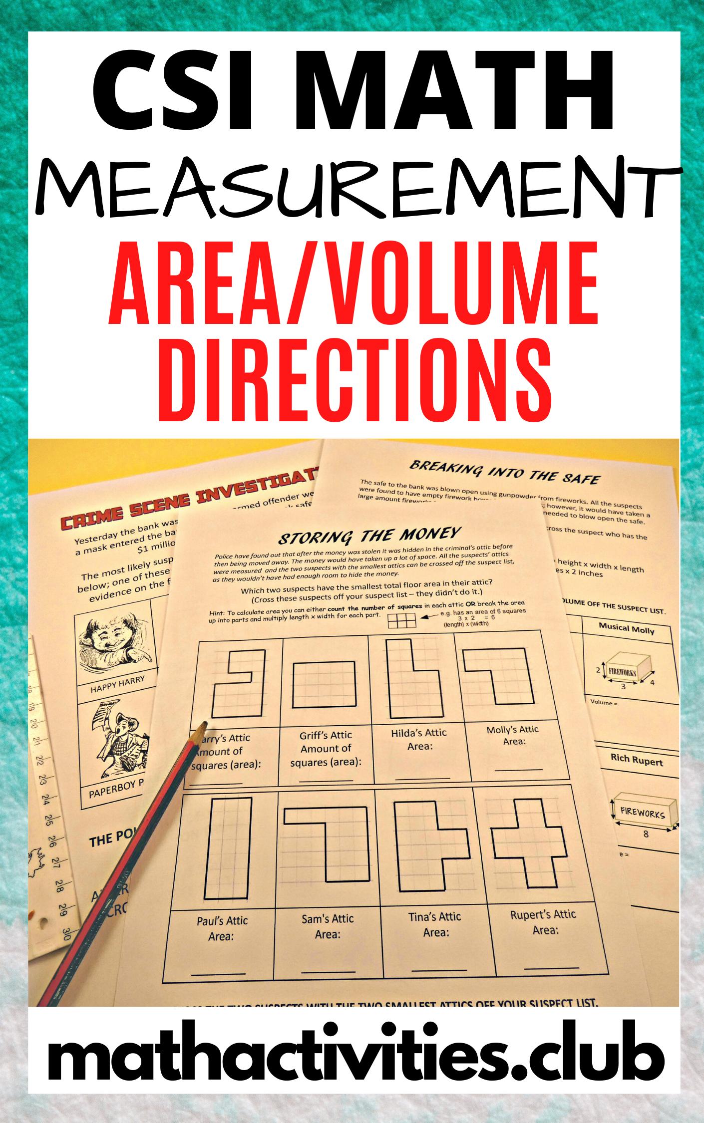 Measurement Activity Csi Who Done It Area Volume